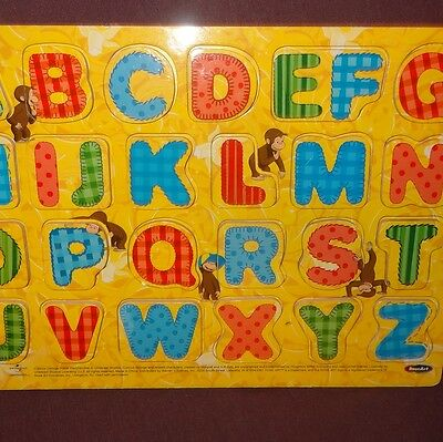 Puzzle Alphabet Curious George Wooden Tray Age 3+