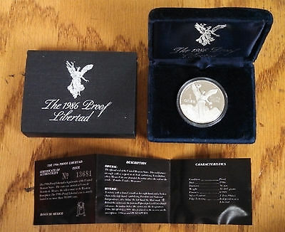 1986 Mexico One Ounce Proof Silver Libertad in the original box