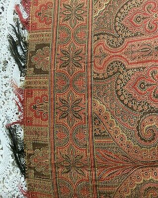 """Antique Wool Paisley Tablecloth Piano Shawl Cover 70""""x 70"""" Estate Find"""