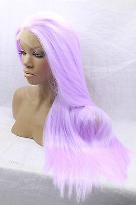 Long Straight Lavender Lace Front Wig Heat Resistant Synthetic Hair Wig+Wig Cap