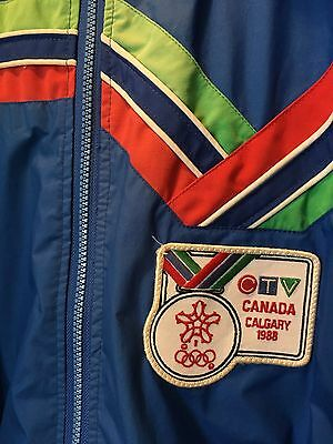 Vintage Calgary 1988 Winter Olympics CTV Broadcast Jacket By Sun Ice - Large