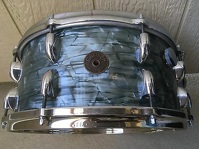 """1950's Gretsch Round Badge Sky Blue 6.5X14"""" Snare Drum W Rare Long Throw Handle"""