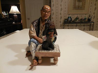 Antique Extra Fine Japanese Man W/ Dressed Monkey Performing On Table Signed