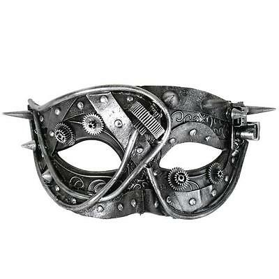 Mens Male Masquerade Mask Steampunk Silver/black Stunning Party/fancy Dress