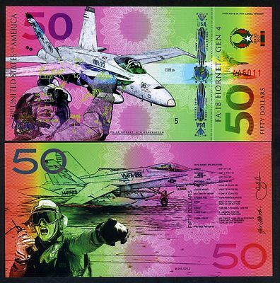 USA, $50, Private Issue Polymer Banknote, 2017, Fighter Jet, F-18, Marine Corps