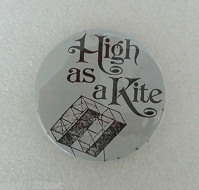 Pinback Button High As A Kite Black and Light Blue 1970s Vintage