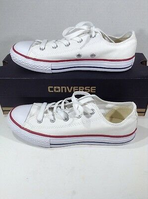 CONVERSE Youth CT All Star Ox White Canvas Casual Athletic Shoes Size 3 Y ZJ-214