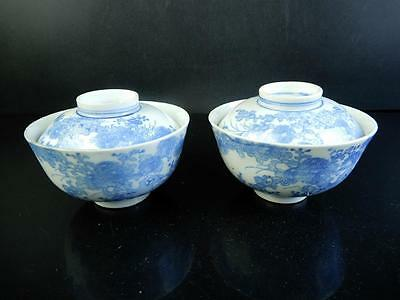 F6874: Japanese Old Imari-ware Flower pattern TEA BOWL/dish of soup 2pcs