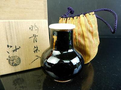 F5166: Japanese XF Kiyomizu-ware TEA CADDY High class lid, Shigeru made
