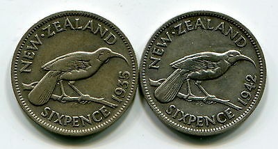New Zealand, 1935 And 1942 Silver Sixpences (2 Coins)