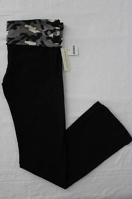 NEW Womens Stretch Pants Small Black High Fold Over Waist Gray Camo Yoga Gym