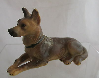 Vintage German Shepherd Dog Hand Painted Wax Figure Glass Eyes Laying Down