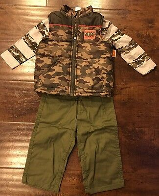 New Boys Healthtex Puffer Vest Shirt & Pants Set Size 18 Months