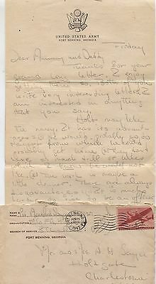 1943 World War II Fort Ft Benning US Army Military Letter Parents 2nd Co 1st Bn