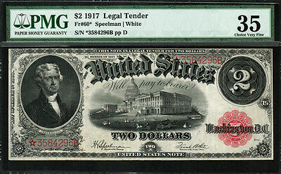 "1917 $2 Legal Tender FR-60* - ""Star Note"" - PMG 35 Comment - Choice Very Fine"