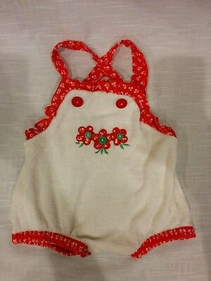 Vintage Doe-Spun girls white and red summer romper size 12 months flowers floral