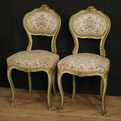 Pair of venetian chairs living room armchairs lacquered wood furniture antiques