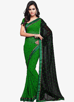 Green Bollywood Saree Indian Ethnic Party Wear Wedding Designer Sari With Blouse