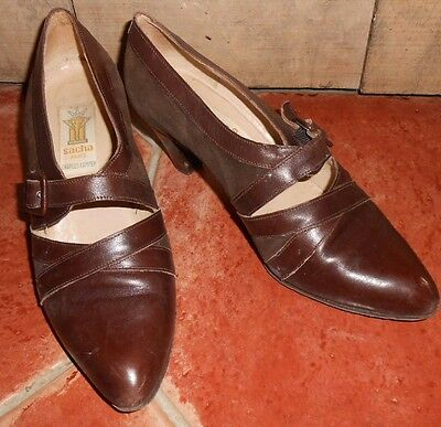 Women's 1970s CHARLES KAMMER SACHA PARIS Brown Suede & Leather Italian Shoes