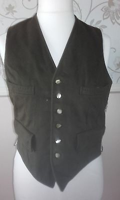 """Vintage Green Wool Mens 4 Pocket Waistcoat Horse In Hand Showing = 34"""" Chest M"""