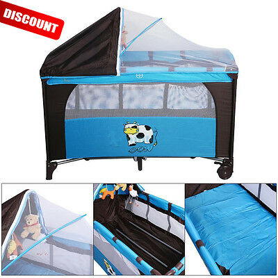 New 7 In 1 Portable Baby Crib Playpen Playard Pack Travel Infant Bassinet Bed US