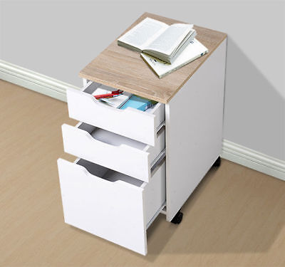 "HomCom 18""D 3-Drawer Vertical Rolling Mobile Office Storage File Cabinet White"