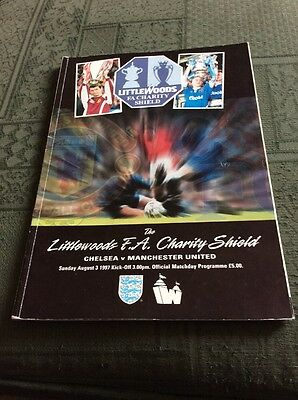 Littlewoods FA Charity Shield Programme 1997 Chelsea V Manchester United