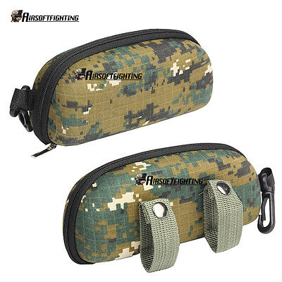 Tactical MOLLE Outdoor Shockproof Glasses Sunglasses Box Case Digital Woodland