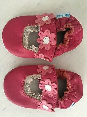 New Mini Feet 0-6 months leather baby Girl Pink slip-on Shoes