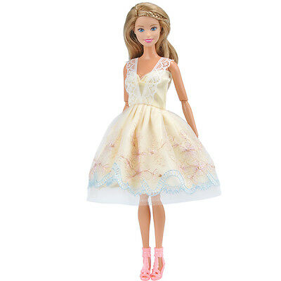Doll Clothes Wedding Evening Party Dress Yellow Mini Skirt for Barbie Dolls A