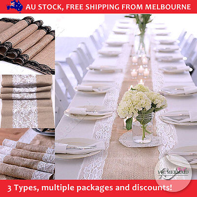 Bulk Hessian Lace Table Runner Burlap Rustic Vintage Wedding Party Decorations