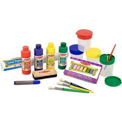 Easel Accessory Set - Paint, Cups, Brushes, Chalk, Paper, Dry-Erase Marker - Mel