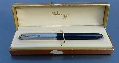 Parker 51 Vacumatic 1946 Cedar Blue Sterling silver cap Blue Diamond Restored