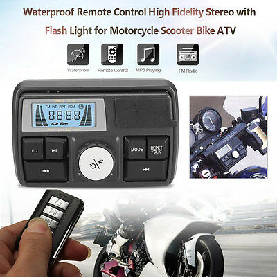 DC 12V Bluetooth Waterproof Anti-Theft LCD Motorcycle Audio FM MP3 Sound Player
