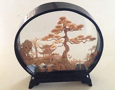 Vintage Chinese Diorama Cork Art Sculpture Lacquer Framed Excellent Condition