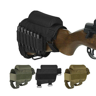 Portable Adjustable Tactical Buttstock Rifle Cheek Rest Ammo Pouch Holder Pack