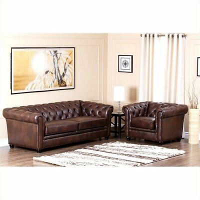 Abbyson Living Foyer Leather Chesterfield Sofa Set