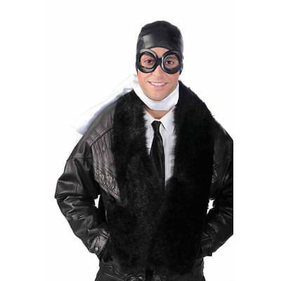 Biggles KIT Aviator Flying Pilot Goggles WW2 Fancy Dress Helmet Hat & Scarf