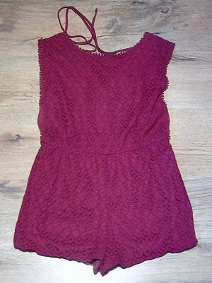 Red crochet playsuit size 12. Cameo Rose