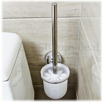 Bathroom Tool Round Wall Mounted Toilet Brush + Frosted Glass Holder Rack Set