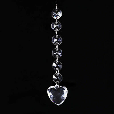 1String Crystal Acrylic Heart Pendant Prism Beads Chain Wedding Chandelier 14mm