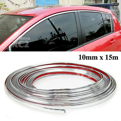 15M 10MM Moulding Trim Chrome Strip Car Door Scratch Protector Edge Guard Cover