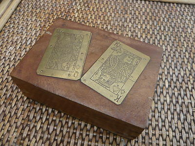 Vintage Old Solid Wood And Brass Playing Cards Box