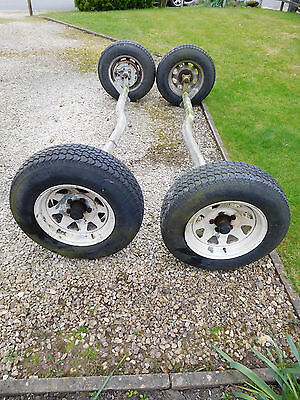 Pair of Trailer Axles with Wheels & Tyres for up to 1.5 ton load