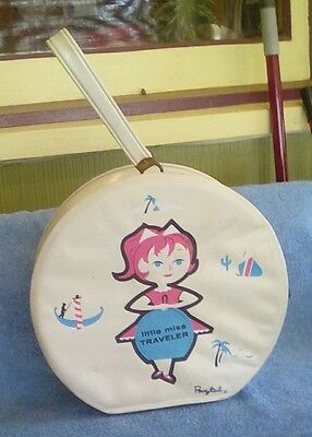Vintage Ponytail 60s little Miss Traveler Vinyl w/ zipper make-up case overnight