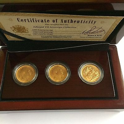 3-coin SOVEREIGN SET/ 1905,1906 And 1907 In Box With Certificate Of Authenticity