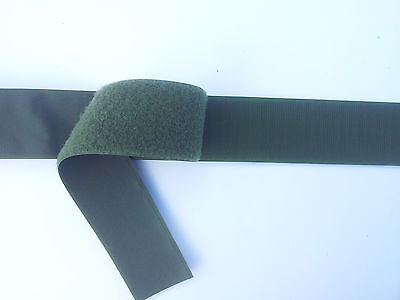 """100mm (4"""") Wide Olive Green Hook and Loop 100cm Sew On Military Style"""