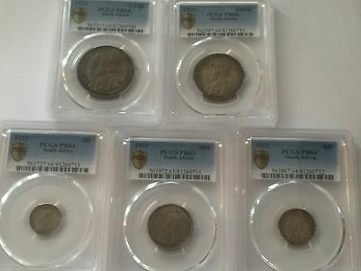 1923 SOUTH AFRICAN SILVER PROOF SET/ King George V /1stYear Issued/ SLABBED PCGS