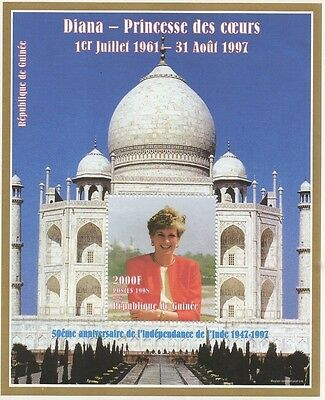 Lady Diana Princess Of Wales Taj Mahal Guinee 1998 Mnh Stamp Sheetlet