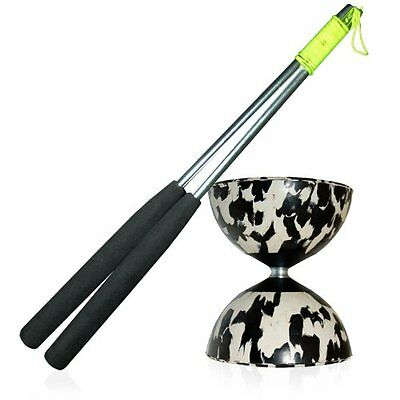 Mr Babache Harlequin Diabolo Bk/W Set with Aluminium Diablo Hand Sticks